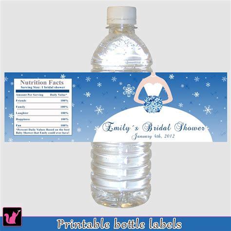 free printable bridal shower water bottle labels printable personalized winter wonderland bridal shower