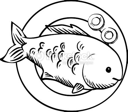 cooked fish coloring page seafood dish with grilled ocean fish vector art thinkstock