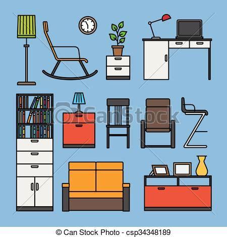 accesorios de muebles hogar muebles accesorios iconos azul plano coloreado