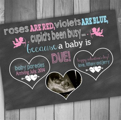 Pregnancy Announcement Card Valentines Day Photo Pregnancy Announcement Baby Ultrasound Photo Pregnancy Announcement Template