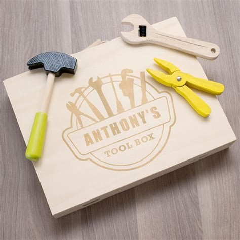 childrens tool set personalised children s wooden tool set