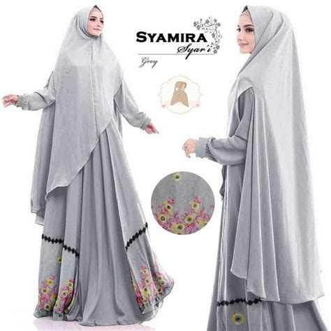 Gamis Syamira Premium 2 Abu Syar I 1 gamis maxmara spandek khimar jumbo syamira abu baju gamis terbaru