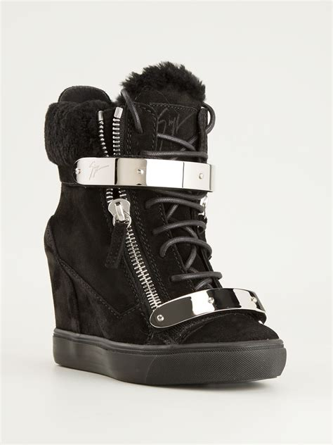 hi top wedge sneakers giuseppe zanotti wedge hi top sneakers in black lyst