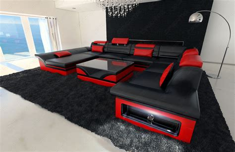 red and black leather couches leather sectional sofa enzo xxl black red