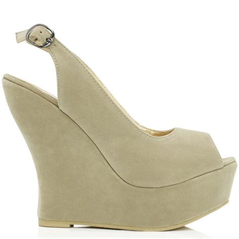 buy vip wedge heel platform shoes beige suede style