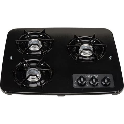 rv cooktop 3 burner drop in cooktop black top suburban 2938abk