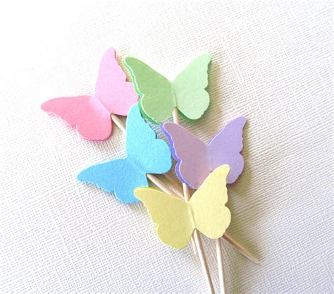 Cupcake Topper Butterfly 24 pastel butterfly cupcake toppers decor by catchsomeraes
