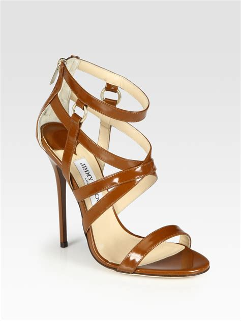 leather strappy sandals lyst jimmy choo gael strappy leather sandals in brown