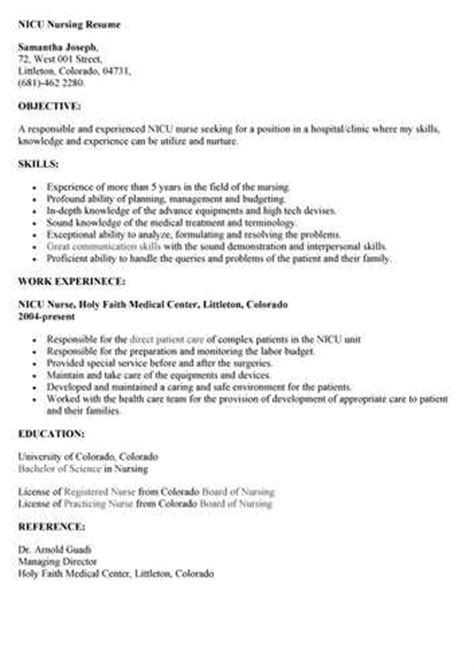 nicu nursing resume objective