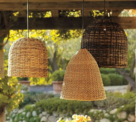 Pottery Barn Wicker Decorative Outdoor Pendant Lighting For Your House