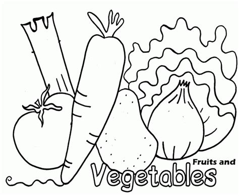 coloring page of vegetables fruit and vegetable coloring pages free coloring pages