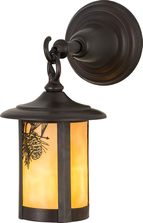 Rustic Outdoor Lighting Fixtures Meyda 90846 Fulton Winter Pine Rustic Beige Craftsman Outdoor Wall Light Fixture Mey 90846