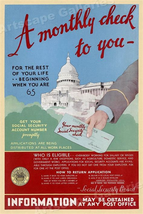 1935 social security a monthly check adv poster 16x24 ebay