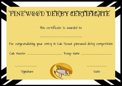 pinewood derby certificate templates pinewood derby certificate template 9 certificates all