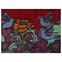 peruvian floral pop art painting (2007) andean
