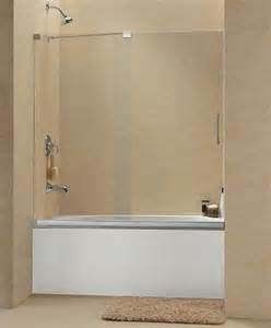 frameless glass shower doors tub dreamline mirage frameless sliding tub door 56 60 quot shdr