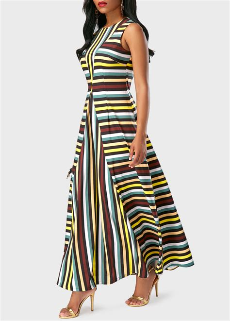 Dress Cantik Saphira Maxi Dress sleeveless stripe print neck maxi dress rosewe usd 35 33