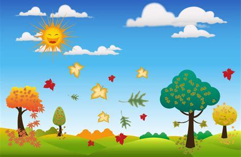 autumn cartoon tree  vector