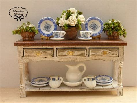 miniature accessories for doll houses miniature dollhouse wooden sideboard 1 12 with accessories