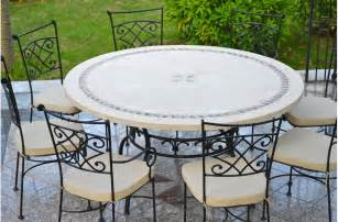 49 63 quot round outdoor patio dining table stone marble mosaic imhotep