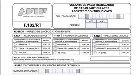 afip formulario rt 102 del mes junio 2016 servicio dom 233 stico c 243 mo es el formulario 102 rt mi
