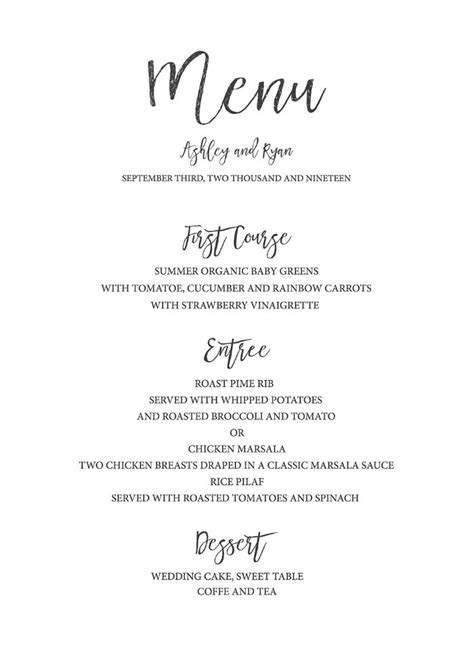 wedding menu cards templates for free best 25 wedding menu template ideas on free