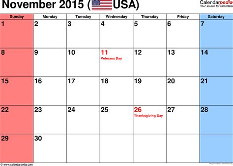 printable calendar november 2015 with holidays november 2015 calendars for word excel pdf