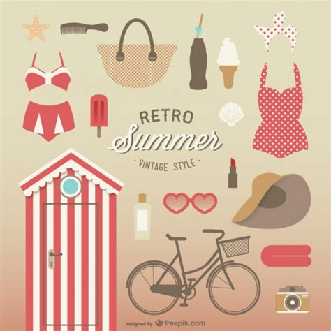 imagenes retro descargar vintage style summer elements collection vector free