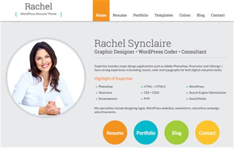 rachel wordpress resume theme for cv and personal websites