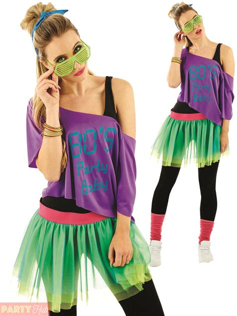 80s Clothes For by 1980s Tutu Kit Adults Neon Disco Fancy Dress Womens