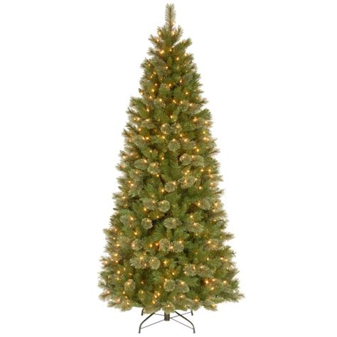 home depot alexandria pine tree national tree company 7 1 2 ft tacoma pine slim hinged artificial tree with 500 clear