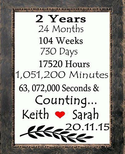 2 years and counting initials canvas print custom 2nd anniversary gifts for