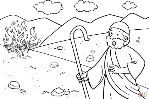 free coloring moses and burning bush coloring page