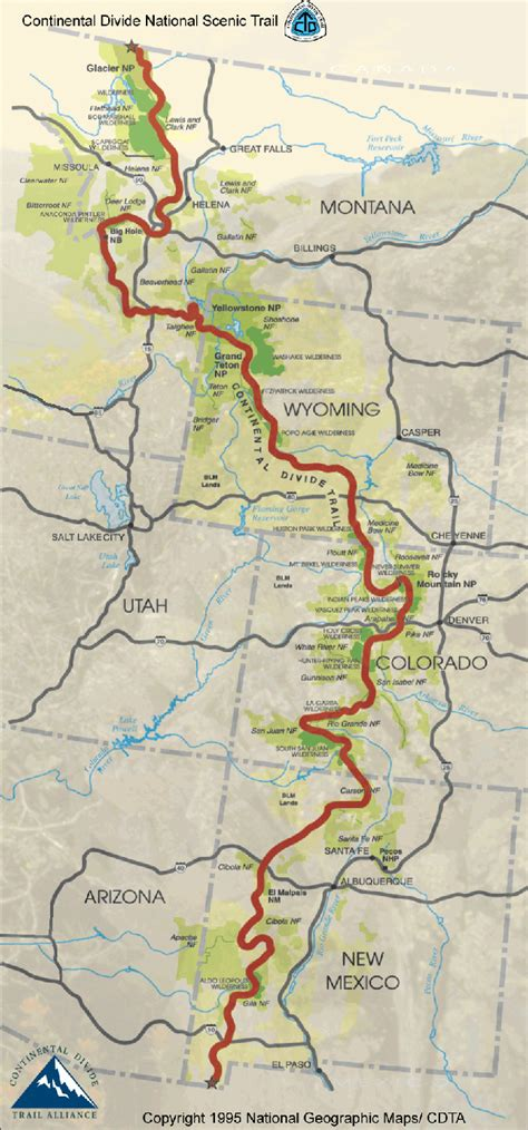 continental divide map the continental divide trail map 673x1440 cingandhiking