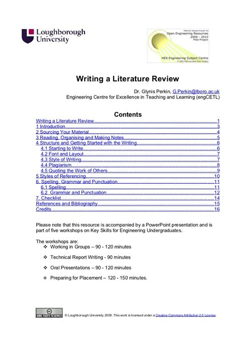 Science Project Review Of Literature Exle by Writing A Literature Review Handout