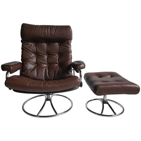brown leather ekornes stressless lounge  ottoman   stdibs
