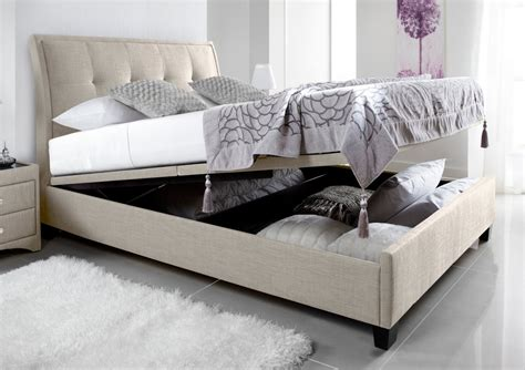 kaydian accent upholstered ottoman storage bed oatmeal