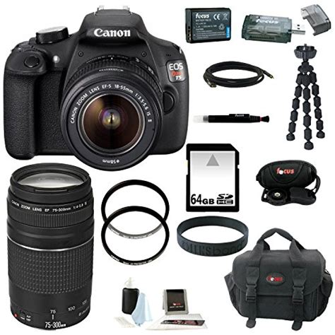Kamera Canon Dslr Rebel T5 canon eos rebel t5 dslr with 18 55mm and 75 300mm lens bundle and 64gb deluxe accessory