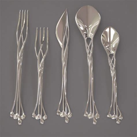unique flatware eat like elven royalty with francis bitonti s metal 3d
