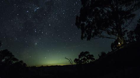 wallpaper  starry sky tree hill