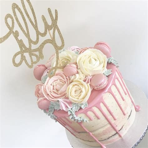 pink  cream buttercream flowers cake   sweet girls birthday semi naked   pink drip