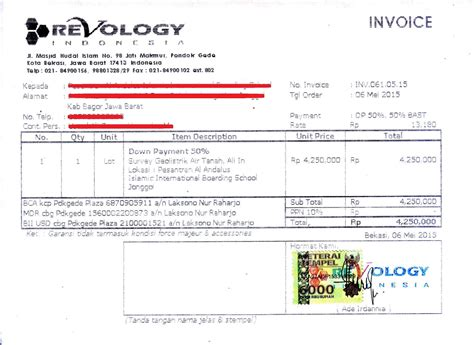 contoh invoice tagihan hotel service laptop