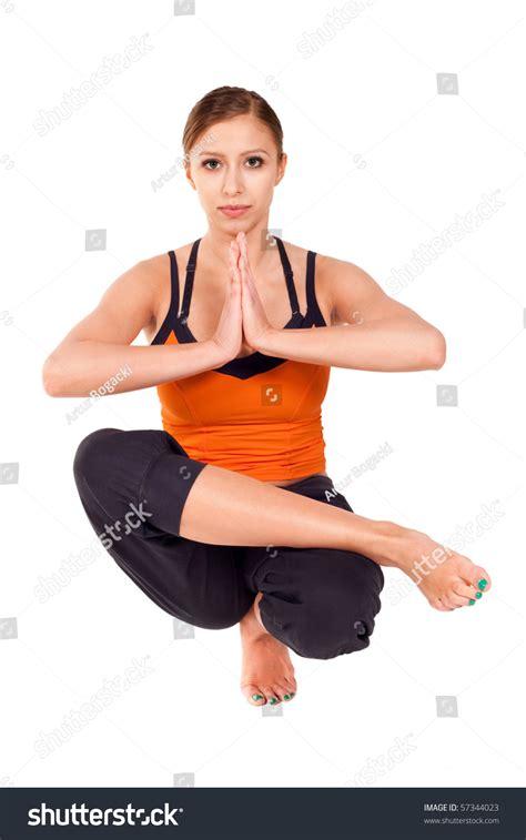 half lotus toe balance fit practicing exercise called half lotus