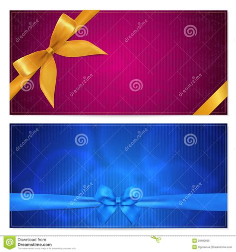 gift voucher coupon template bow ribbons stock vector image