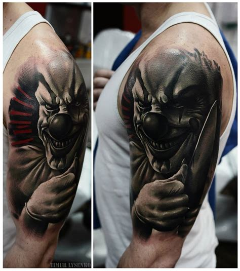 clown sleeve tattoo designs timur lysenko artist the vandallist
