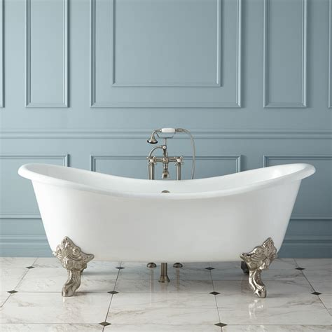 cast bathtub 68 quot erikson cast iron double ended tub on wood cradles bathroom
