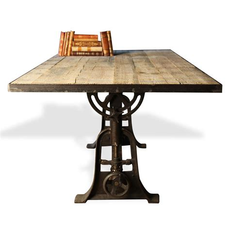 adjustable dining table monterrey industrial loft iron reclaimed wood adjustable
