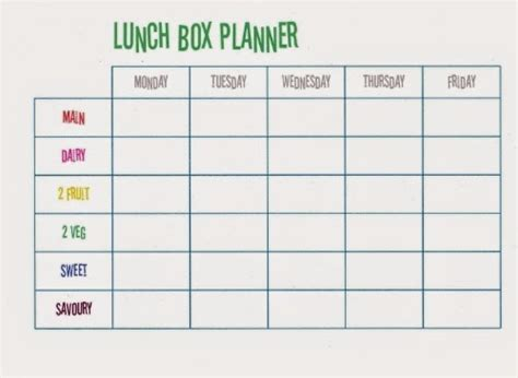 lunch box planner template hope studios school lunch time already