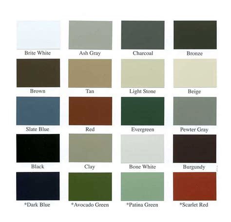standing seam metal roof colors metal roof color chart standing seam roofs