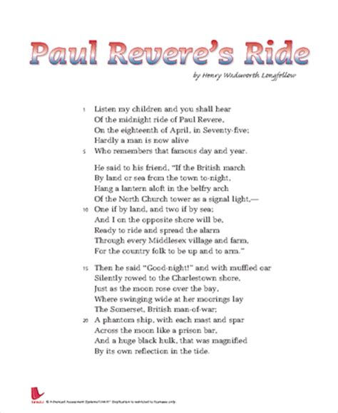 Paul Revere Essay by Passagbank A Passage Search Engine For Teachers